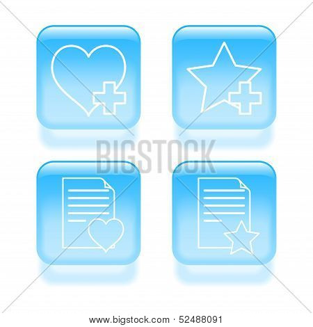 Glassy Favorites Icons. Vector Illustration