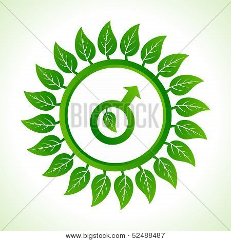 Eco male symbol inside the leaf background stock vector