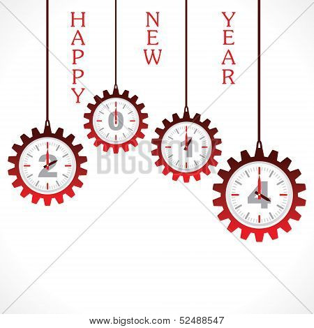 New year greeting ,2014 with gear stock vector