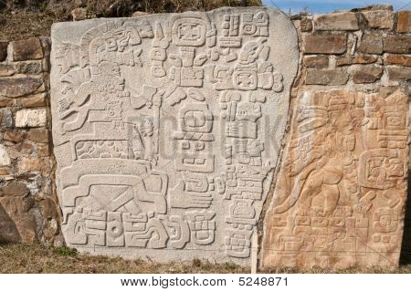 Ancient Zapotec Relief On The Wall In Monte Alban, Mexico