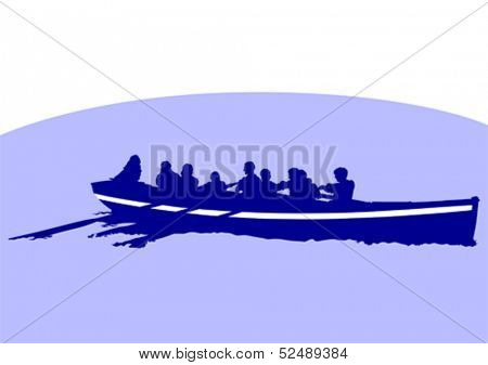 Vector drawing of a boat with oars in the sea