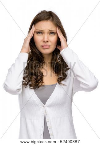 Half-length portrait of girl putting hands on head, isolated on white. Concept of headache and high temperature