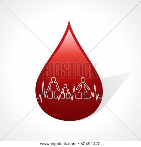Heartbeat make family icon inside the blood drop stock vector