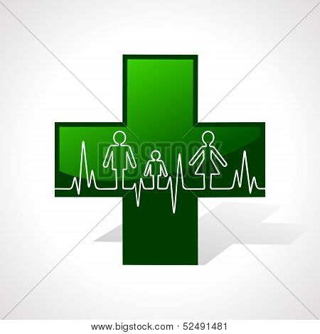 Heartbeat make family icon inside the medical symbol stock vector