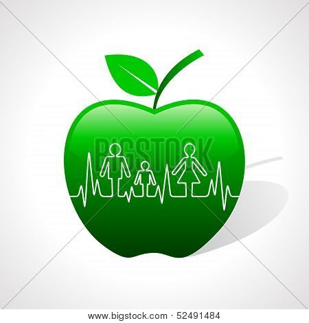 Heartbeat make family icon inside the apple stock vector