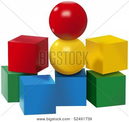 Colored set of balls and cubes toys