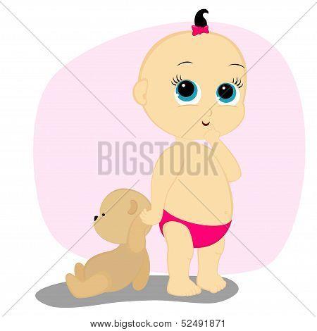 A Little Girl With A Bear