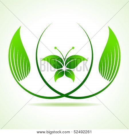 Eco butterfly between  the leaf  stock vector