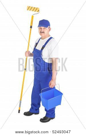 House Painter In Blue Dungarees Over White