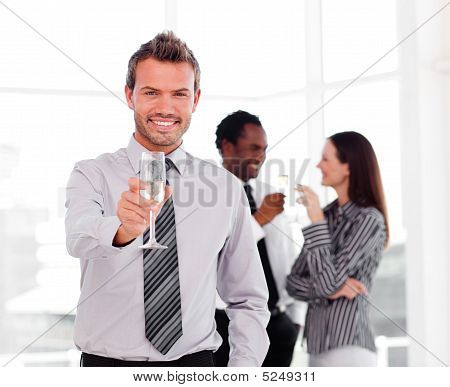 Businessman Celebrating A Success