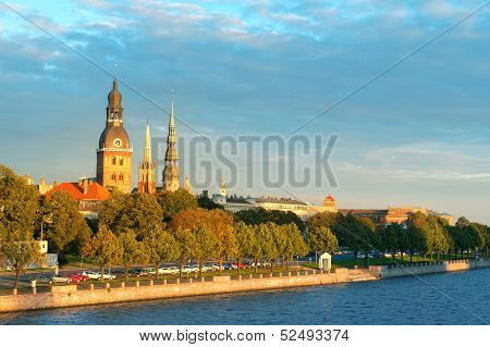 Old Town Riga And The Daugava River