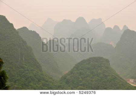 Mountain Landscape Near Guiling, Guanxi Province, China