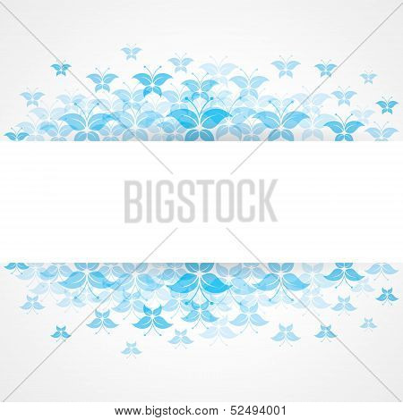 Abstract Blue butterfly design with copy-space