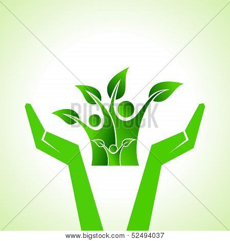Illustration of save eco family concept stock vector