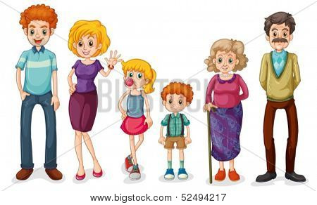 Illustration of a big happy family on a white background