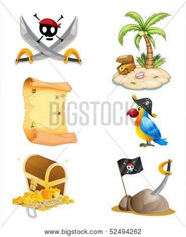 Illustration of the things related to a pirate on a white background