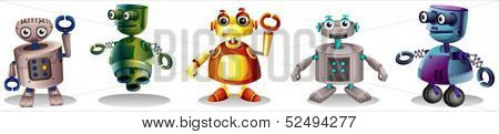 Illustration of the different robot designs on a white background