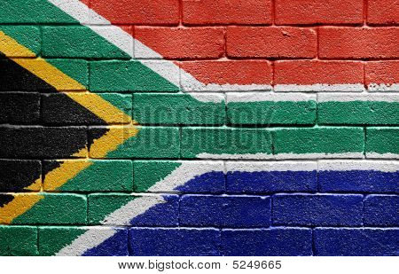 Flag Of South Africa On Brick Wall