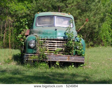 Old Abandoned Truck In Field