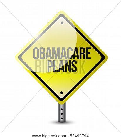 Obamacare Plans Road Sign Illustration Design