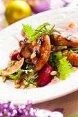 foto of quail  - Grilled quail breasts with fig and beet salad for holiday - JPG
