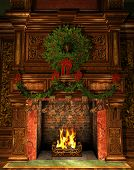 stock photo of holly  - 3d Computer Graphics of a Fireplace decorated for Christmas with Holly Wreath Garland and Stockings - JPG