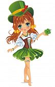picture of leprechaun  - Beautiful leprechaun girl in green - JPG