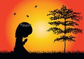 picture of praying  - his is a vector  of a little girl praying - JPG