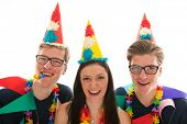 stock photo of identical twin girls  - Identically adult male twins having birthday together with girl in studio - JPG