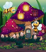 pic of magical-mushroom  - Illustration of the dragonflies near the enchanted mushroom house on a white background - JPG