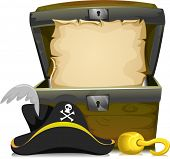 stock photo of pirate hat  - Illustration of an Open Treasure Chest with an Empty Scroll Inside and a Pirate Hat and a Hook in Front - JPG