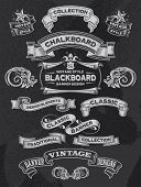 foto of chalkboard  - Hand drawn blackboard banner vector illustration with texture added - JPG
