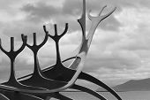 picture of metal sculpture  - Sun Craft Metallic Sculpture against cloudy sky black and white - JPG