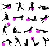 stock photo of pilates  - silhouettes of women doing pilates - JPG