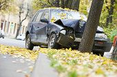 image of accident emergency  - road accident car crash on an city road highway - JPG