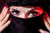 stock photo of yashmak  - arabian woman close - JPG
