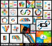 stock photo of graph  - Extreme Collection of 25 quality Infographics background - JPG