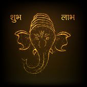 pic of lakshmi  - Golden illustration of Hindu mythology Lord Ganesha on brown background for Indian festival of lights Happy Diwali and text Hindi text Shubh Labh  - JPG