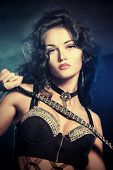 foto of showgirl  - Sexual brunette girl dancing at nightclub - JPG