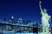 pic of ladies night  - Brooklyn Bridge and The Statue of Liberty at Night - JPG