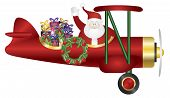 image of biplane  - Santa Claus Waving on Biplane Delivering Wrapped Presents Isolated on White Background Illustration - JPG