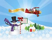 foto of biplane  - Santa Claus in Biplane Flying Over Winter Snow Scene with Snowman House Trees and Stop Sign Illustration - JPG