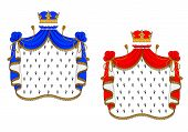 image of mantle  - Red and blue royal mantles isolated on white background for heraldry design - JPG