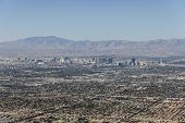 LAS VEGAS, NEVADA - Oct 15:  View of Las Vegas strip and sprawl.  Shot from top of Frenchman Mountai