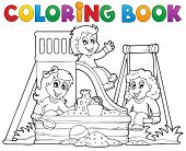 image of playground  - Coloring book playground theme 1  - JPG