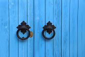 Blue Wooden Door With Round Handles