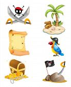 picture of pirate hat  - Illustration of the things related to a pirate on a white background - JPG