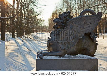 Figure of a dragon on the bridge