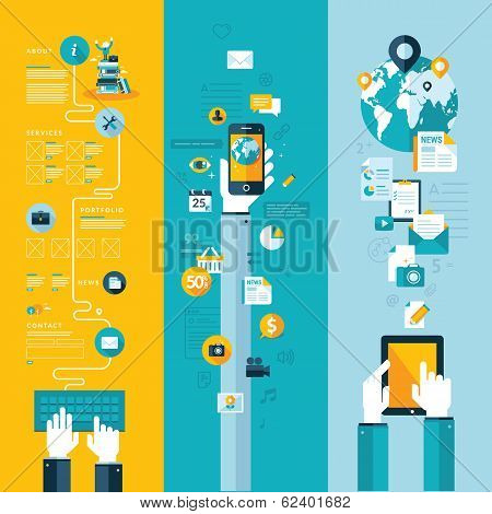 Set of flat design concepts for website layout, mobile phone and tablet services and apps poster