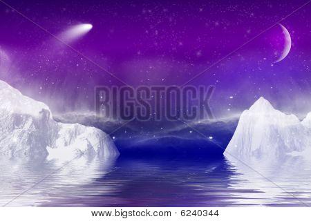 Aurora Borealis over a ice rocks